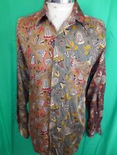 Vintage 80s Green Purple Floral Patterned Rayon Viscose Giocoso Caldi Shirt M/L