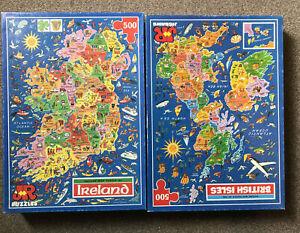 JR MAP JIGSAW PUZZLES BRITISH ISLES + IRELAND 500 PIECE COMPLETE