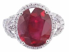 14k White Gold Oval Ruby And Round Cut Diamonds Antique Deco Design Ring 6.50ctw