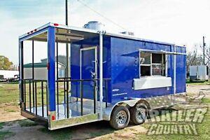 NEW 2021 7X20 Enclosed Mobile Kitchen Concession Food Vending BBQ Porch Trailer