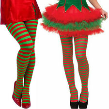 Elf Tights Striped Red And Green Christmas Fancy Dress Costume Knee Stockings US