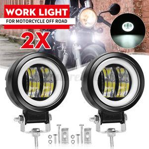 """2pcs 3"""" Round LED WORK LIGHT BAR Spot Lamp Off Road Driving Fog Light White DRL"""