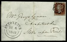 1841 PENNY RED SG8 FROM THE BLACK PLATE 8 ON ENTIRE TO STOKE-ON-TRENT DEC 1841