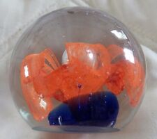 "Glass Paperweight - 2 1/2"" - Cobalt Blue w Gorgeous Orange Flower"