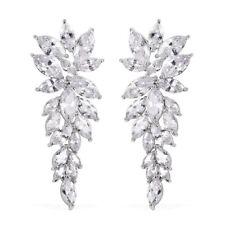 Dangle Drop Earrings Silvertone White Cubic Zirconia CZ Gift for Women