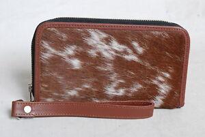 Cowhide Wallet for Women Zip Clutch Purse Clutch Wristlet Wallets  SA-3375