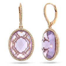 15.95TCW 14K Oro Rosa Natural Ovalado Amatista Violeta Diamante