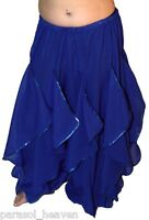 BLUE ENDLESS WAVE HAREM PANTS, CHIFFON & SILVER SEQUINS for BELLY DANCE