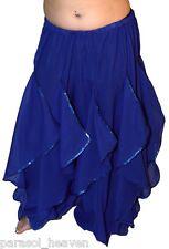 BLUE ENDLESS WAVE HAREM PANTS, CHIFFON & SILVER SEQUINS for BELLY DANCE