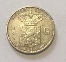 Netherlands Indie, 1/4 Gulden, (1901) Silver coin, Queen Wilhelmina