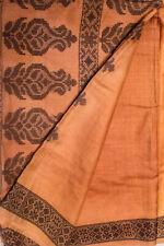 Vintage Indian Pure Tussar Silk Saree Hand Woven Sari Handloom Textile Sarong