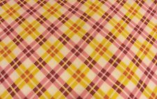 W112x190cm fabric remnant check tartan style quilters weight cotton white pink
