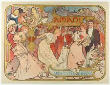 Original Poster - Alphonse Mucha - Les Amants - Bernhardt - Art Nouveau - 1895