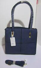 Borsa donna valigetta blu doppia maniglia o tracolla ecopelle lavorato