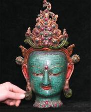 Rare Chinese Bronze Inlay Turquoise Tara Buddha Goddess Head Mask Mask Statue