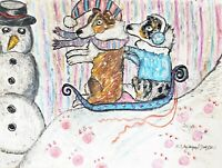Shelties Sledding Original Dog Pop Art Pastel Painting 9 x 12 Sheltie by KSams