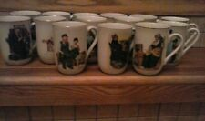 Set of 14 different Norman Rockwell Museum Porcelain Cups Saturday Evening Post