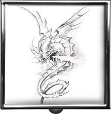 metALUm Pillendose / quadratisch / Drachen - Mittelalter - Skizze #0024