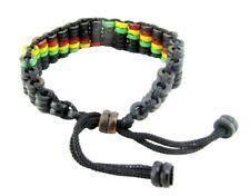 Wood Bead Bracelet Men Women Adjustable Rope Reggae Rasta Boho Hippie Cuff Black