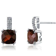 14K White Gold Garnet Earrings Cushion Checkerboard Cut 5.00 ct