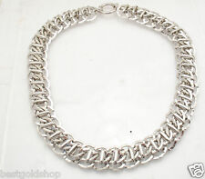 "18"" Epiphany Platinum Clad Silver Hammered Railroad Chain Necklace QVC"
