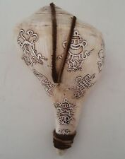 "Tibetan 8 Auspicious Signs Etched on Right Handed Conch Shell 6.3"" - Nepal"