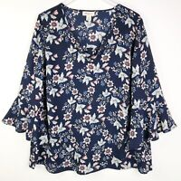 Style&Co Woman Plus 2X Womens Top Floral Blue Blouse Bell Sleeve Tunic