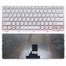 for Sony Vaio E14 SVE14 SVE141 SVE 14 series Pink Frame US White Laptop Keyboard