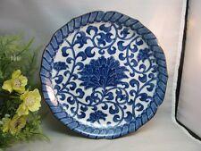 Vtg blue & white Chinese ceramic pottery dish.Floral pattern.Asian decor