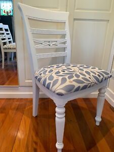 White Solid Timber Upholstered Dining Chairs X 4  Hamptons/Coastal Styling