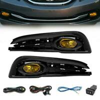 Details about  /FOR 13-15 HONDA CIVIC 4DR CLEAR LENS USA FOG LIGHTS ASSEMBLIES+3000K 55W AC HID