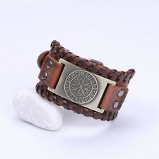 Leather Bracelet Viking Compass Nordic Genuine Vintage Brown Black Gift For Men