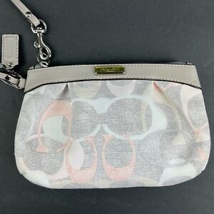 Coach Optic Wristlet Gray Pink Clutch Canvas Signature Small Bag Brand New