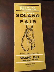 Vintage 1968 Solano County Fair Horse Racing Official Program June 18 Vallejo Ca