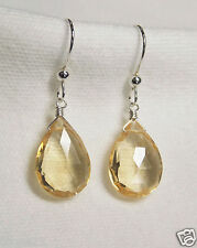 AAA CITRINE GEM STONE FACETED PEAR BRIOLETTE STERLING SILVER EARRINGS YELLOW