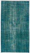 3.9x6.1 Ft Blue Color OVERDYED Handmade Vintage & Modern Turkish RUG d509