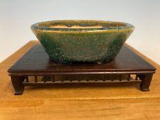 "Classic Green  Glazed Shohin Size Tokoname Bonsai Tree Pot Made Koyo 4 1/2"""