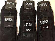 6 PAIRS BLACK ENRICO MILANO SILKY SHEER NYLON DRESS SOCKS RIBBED 10-13 SOCKS