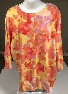 Isaac Mizrahi Live Womens Lightweight Sweater Size 1X Button Up Scalloped Edges