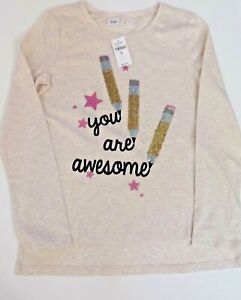 """GAP Girls Reversible Flip Sequins """"YOU ARE AWESOME"""" Top Shirt SCHOOL Tee Large M"""