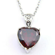 Fashion Natural Heart Fire Red Garnet Gemstone Platinum Plated Necklace Pendant