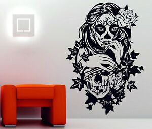 Candy Sugar Skull Floral Girl Tattoo Decor Vinyl Wall Sticker Decal Rockabilly