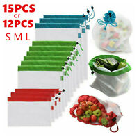 12/15x Reusable Grocery Shopping Bags Eco Friendly Fruit Vegetable Mesh String