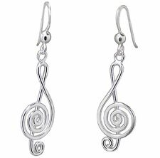 Pair of G CLEF EARRINGS 925 Sterling SILVER 38mm Drop : Music Note Musical