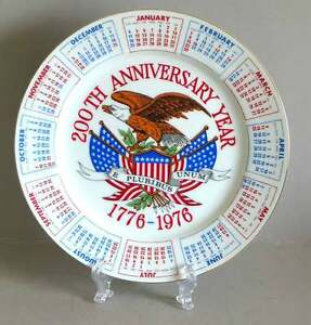 "Calendar PLATE 1776-1976 200th Bicentennial Year Spenser Gifts 9"" RWB FREE SH"