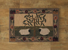 Willow Tree & Sheep Hooked Rug