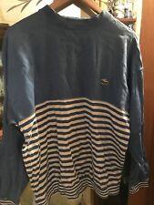 Vintage 1980s 1990s IZOD LACOSTE LONG SLEEVE STRIPED SHIRT SOFT Gator blue wht L