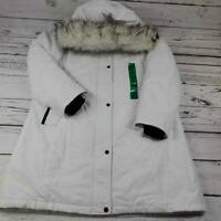 1 Madison Expedition Womens Parka Jacket White Zip Faux Fur Trim Hooded XL New