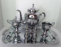 Vintage Chrome 6 Pc TEA COFFEE Set-Tray, Coffee Pot, Sugar, Creamer, Salt Pepper