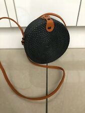 Women's Round Straw Bag Vintage Wicker Basket Small Shoulder Bag Crossbody Bag